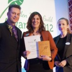 Chris Packham presents me with the Garden Media Guild New Talent Award.